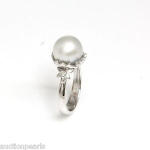 South Sea Diamond Pearl Ring 18kt Gold 11mm White