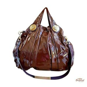 Authentic GUCCI Burgundy Patent Leather Hysteria Large Top Handle Bag 197016