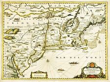 PRINT POSTER VINTAGE MAP NEW ENGLAND VIRGINIA AMERICA USA HISTORICAL NOFL1486