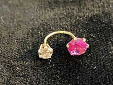 Solid 14k Gold Multi Use *Nose*, *Ear*, *Lip* *Eyebrow* Belly Ring Cz Red Stone