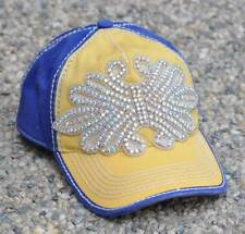 New Rhinestone Bling Fleur de Lis Contrast Hat by Olive & Pique - Navy & Yellow