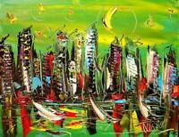 GREEN CITY SKY  Mark Kazav  Abstract Modern CANVAS Original Oil Painting J8DF98