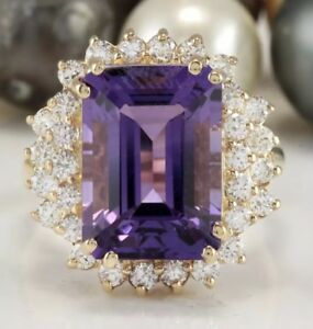 11.20 Carat Natural Purple Amethyst and Diamonds in 14K Solid Yellow Gold Ring