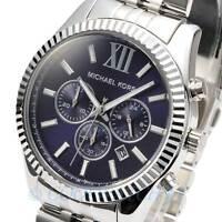 Michael Kors MK8280 Mens Watch Lexington Silver Chronograph Navy Blue MK8280
