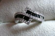 SPARKLING SIMULATED CLEAR & BLACK DIAMOND 925 SILVER BAND RING SZ L US 6