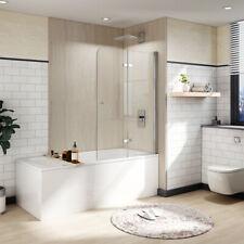 Bi-Fold Bath Tub Shower Door Swing Screen Hinged Frameless 1/4 Glass Chrome