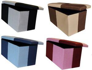 QUATTRO OTTOMAN STORAGE BOX FOLDING CUBE FOOT STOOL REST SEAT LID CHECK MULTI