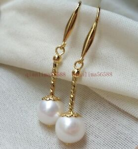 Charming Pair Of 8-9mm Natural South Sea White Pearl Dangle Earring 14k Gold