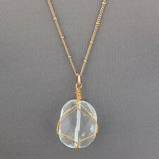 Long Gold Flat Cut Quartz Stone Bohemian Style Simple Pendant Necklace