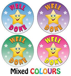 Well Done Stickers - School Teachers Award - Parents Kids