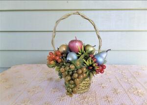 Vintage Handmade Basket Of Multi Colored Fruit Kitchen Decor 70's-80's