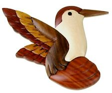 INTARSIA WOOD HUMMINGBIRD MAGNET, handsome handcrafted wood mosaic