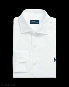 Polo Ralph Lauren Mens Dress Shirt Stretch Easy Care White blue pony logo $79