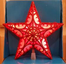 Holiday Time Red Lights Battery Operated LED Christmas Tree Topper w/Timer - 9in
