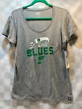 St Louis BLUES Hockey St Patricks Day Clover Women's Shirt Size L NEW NWT