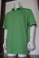 Xl Men Tiger Woods Nike Fit Dry Golf Polo Shirt Green Purple Stripe Cotton Poly