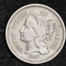 1867 DIE CRACKS Three Cent Nickel Piece CHOICE FINE FREE SHIPPING E199 ACC