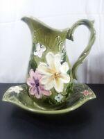 Vintage Napcoware National Potteries Co. Pitcher/Basin C-7817 flower power green