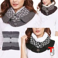 Women Winter FASHION CABLE KNIT BUTTON FRINGED INFINITY COWL SCARF WRAP