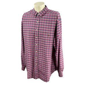 Ralph Lauren Polo Men's Long Sleeve Cotton Dark Pink Check Oxford Shirt 2XLT