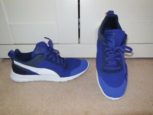 Mens Trendy PUMA Blue & White Trainers Gym Shoes - Size 8.5 - VGC