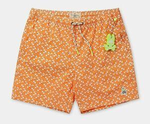 Psycho Bunny Men's Paradise Orange Printed Swim Trunks