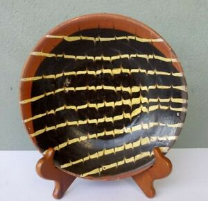 """ANTIQUE SLIP DECORATED REDWARE POTTERY 8 1/2"""" BOWL"""