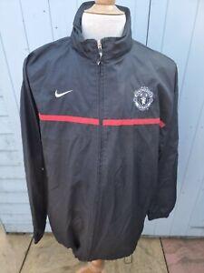 Manchester United Training Jacket Windbreaker Hood in Collar XL Black Nike