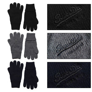 Superdry Unisex Vintage Logo Classic Knitted Thermal Warm Winter Cotton Gloves