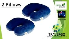 2 x Travel neck pillow- Bead Plush spandex BLUE- Plane Train Car Or Bus or Bed