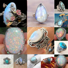Gemstone 925 Silver Ring White Fire Opal Moon Stone Turquoise Wedding Size 6-10
