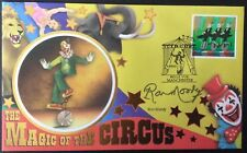 Benham 9.4.2002 Circus FDC Cyclists, Signed RON MOODY, Actor, Fagin In 'Oliver'