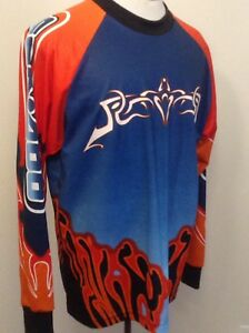 Sea Doo Team Athletics Bombardier Top Size Large EUC Blue/Red/Orange/Black