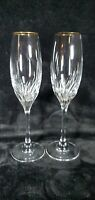 MINT Set Of 2 Gold Rimmed Vintage Crystal Champagne Flutes Swirl Design