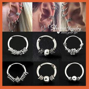 925 Sterling Silver Solid Ear Cartilage Ring Piercing Small Hoop Sleeper Earring