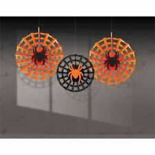 Amscan - Fan Decoration Spiderweb Web/ Spider -3 Halloween- free P&p