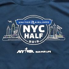 2016 Nyc Half Marathon T-Shirt United Airlines Tee Size Large Road Runner Shirt
