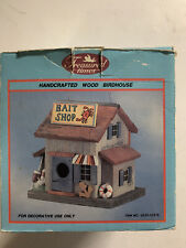 Fishermans All Wooden Detailed Bait Shop Bird House Home or Garden Unused In Box