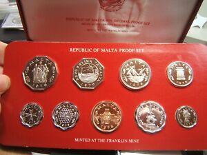 1976 Malta 9 Coin Proof Set Celebrating change to Decimal Coins