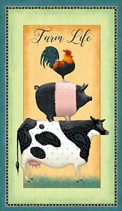 DOWN ON THE FARM QUILT PANEL * FARM LIFE STACK * FREE POST * 🐮🐷🐓