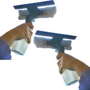 2x Fensterwischer mit Sprüher & Gummilippe Zerstäuber 200 ml Behälter Abzieher