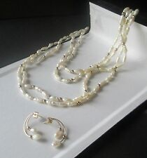 Freshwater Baroque Pearl Necklace with 14kt. Gold Beaded Accents & Earrings  Set