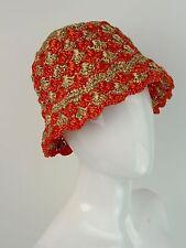 PRADA Spring 2012 Collection Orange Natural Bi-Color Raffia Bucket Hat ~ NWT ~