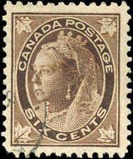 1897 Used Canada 6c F-VF Scott #71 Queen Victoria Maple Leaf Stamp