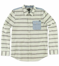O'Neill ROCA Mens Button Front Long Sleeve Shirt Size Medium Fog Cream NEW