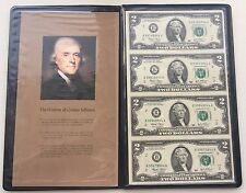 2003 $2 Dollar Bills UNCUT SHEET of FOUR (4) in Thomas Jefferson Portfolio COA