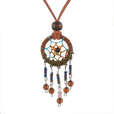 Boho Style Tan 'Suede' Cord Beaded Dream Catcher Necklace - Rainbow Coloured Web
