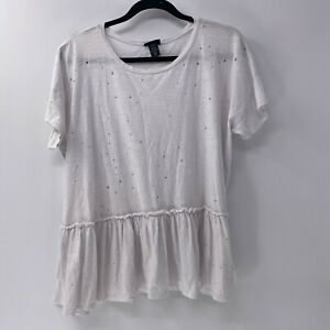 Torrid destructed peplum tee shirt plus sz 2X White