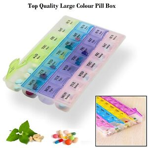 Large Monthly Weekly Daily Colour Pill Box Organiser Tablet Medicine Dispenser