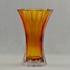 Nachtmann Saphir Amber Colored 11 3/4-Inch Crystal Glass Vase Large